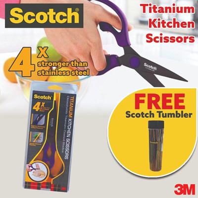 3M[Official E Store] 3M Scotch Titanium Detachable Kitchen Scissors  (Purple) FREE TUMBLER [Save10%]