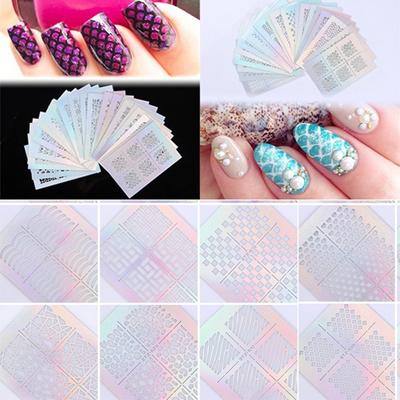 3pcs nail art vinyls nagel schablonen sticker irregul r muster stencil stickers - Nails Muster