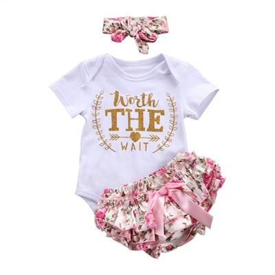 3PCS Newborn Infant Baby Girl Clothes Jumpsuit Romper Pants Bodysuit Outfits