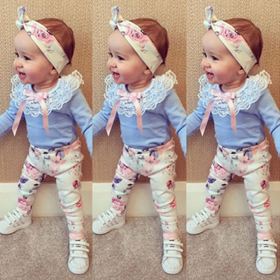 3PCS Newborn Toddler Baby Girl Floral T-shirt Tops Pants Headband Outfit Clothes