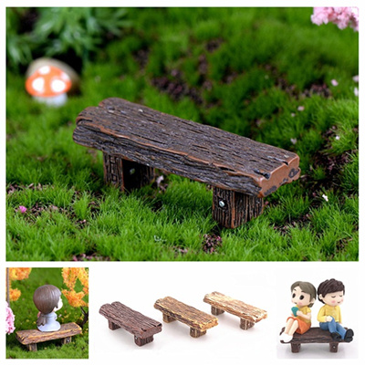 Awesome 3Pcs Set Wooden Benches Miniature Ornaments Fairy Garden Bonsai Decorations Dollhouse Accessories Bralicious Painted Fabric Chair Ideas Braliciousco