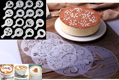 4 16pcs Cake Decorating Stencils Dusting Icing Sugar Baking Template Coffee Birthday Reusable