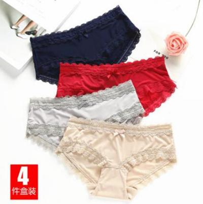 4db4d2450b96 Qoo10 - 4 boxes Ice silk Seamless Lace Sexy Ladies Underwear Low waist modal  C... : Underwear & Sock.