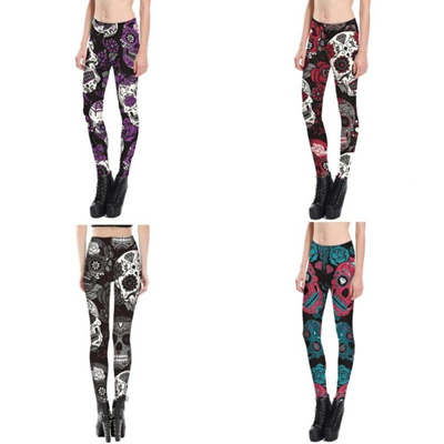 e0d442c3a274e 4 colors New Fashion Ninth Womens Summer Yoga Pants Skull Print Street Plus  Size Casual Wear