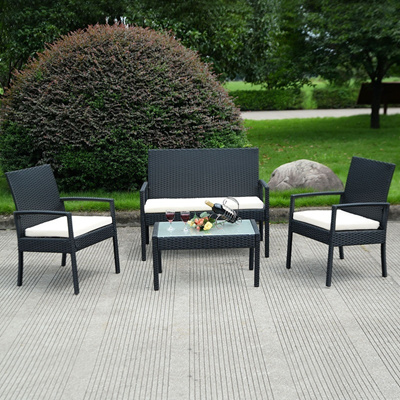 Qoo10 4 Pcs Outdoor Patio Furniture Set Table Chair Sofa Cushioned