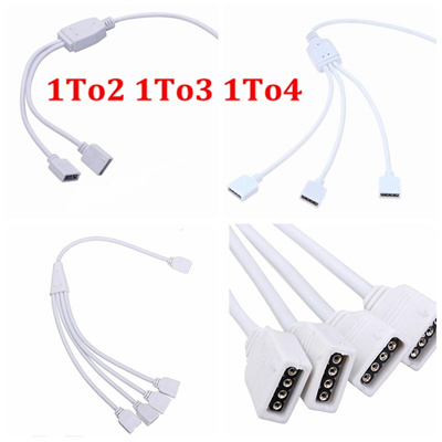 4 Pin RGB Led Connector Cable 1 TO 2 /1 TO 3 /1 TO 4 Female to Female 4pin  RGB Splitter Cable For