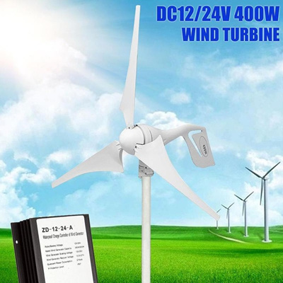 400W Wind Turbine Generator DC 12V/24V 3 Blade with Charge Controller  Waterproof