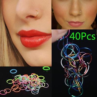 Qoo10 40pcs Surgical Steel Nose Ring Nose Piercing Lip Hoop Ring