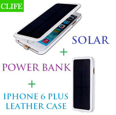69a146503 4200mAh Solar Power Leather Flip External Backup Battery Charger Case  Powerbank Power bank For iPhone 6