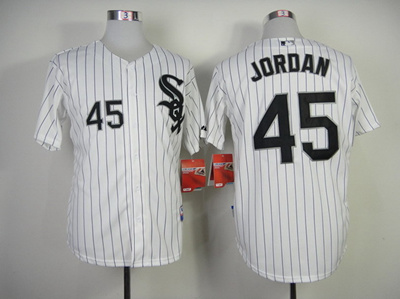 big sale dcabb 4e7c7 #45 michael jordan Jersey Chicago White Sox Jersey Baseball Jersey white  Stripe Black Grey Free Ship