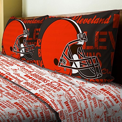 0a4442e0 4pc NFL Cleveland Browns Full Bed Sheet Set Football Team Anthem Bedding  Accessories