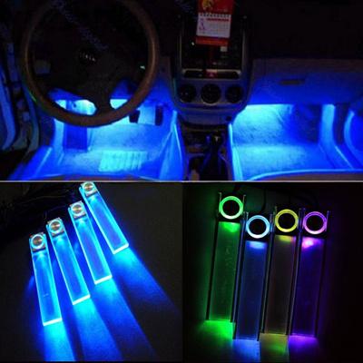 4pcs Led Car Charge Light Interior Glow Decorative Floor Lights Blue Seven Colors
