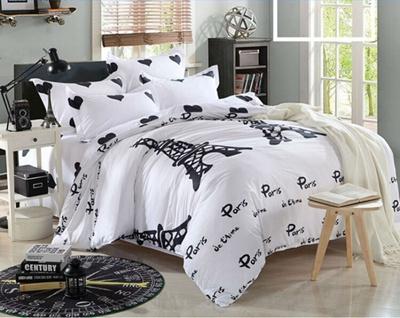 4pcs New Paris Tower Bedding Set Duvet Cover Quilt Single Queen King Size White