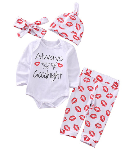 1579df8792d3e 4Pcs Newborn Baby Boy Girl Romper Long Pants Legging Outfits Clothes Set  Long Sleeve Print Bodysuit