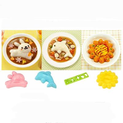 4pcs/set 3D Cartoon Sushi Maker Rice Mold Diy Children Lunch Bento Mould  Tool Safety Hot Sale Kitche