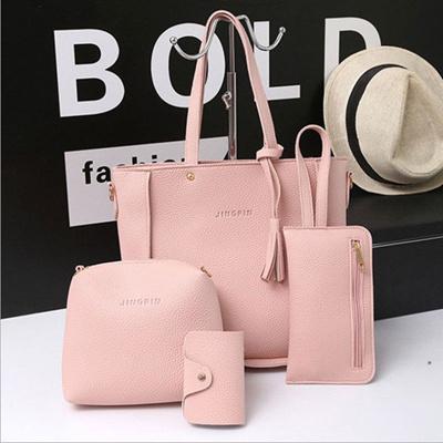f4f09d17d738 4pcs Women lady PU Leather Shoulder Bag Tote Handbag Purse Messenger  Satchel Clutch