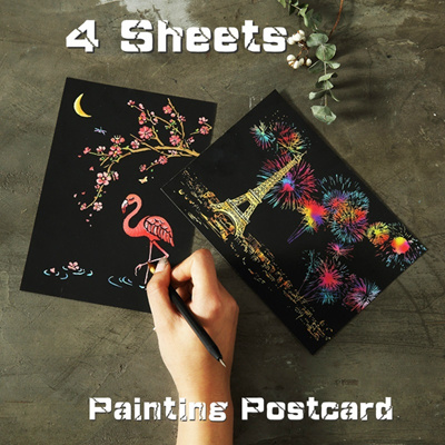 4sheets/lot fireworks Oil Painting Scraping Paint Scratch