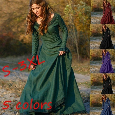Qoo10 - 5 Colors S-3XL Women Fashion Medieval Clothing Linen Dress Autumn  Prin...   Women s Clothing