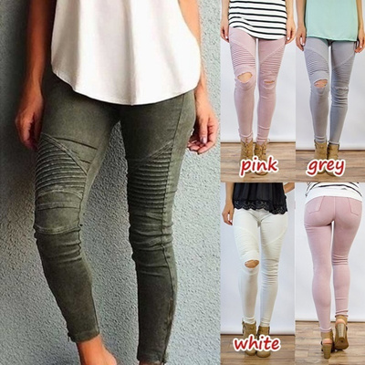 94db1f4501789 5 Colors Women Skinny Leggings Army Green Solid Sexy Patchwork Casul Pants  Casaul Jeans