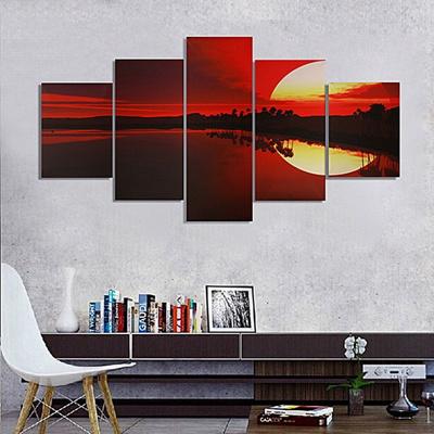 Qoo10 5 Pcs Kanvas Tanpa Bingkai Lukisan Merah Senja Lakeside