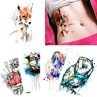 4f45545c47a4d Qoo10 - 5 Sheets Watercolor Body Temporary Tattoo Sticker Fox Cat Art  Design f... : Bath & Body