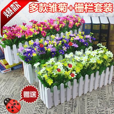 Wooden Fence Rose Silk Flower Garden