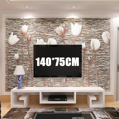 55x30/Roll 3D Tulips Non-wovens Wall Paper Sticker Roll TV Background  Living Room Bedroom (Color: Br