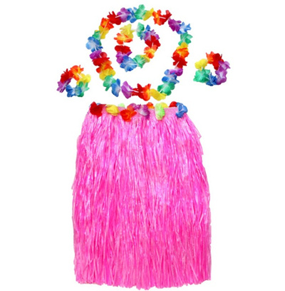 0832b3ae56 5pcs Hawaiian Luau Garland Headband Wristband Hula Skirt Fancy Dress Grass