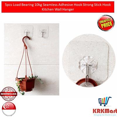 5 PCS Load Bear 10KG Seamless Adhesive Hook Strong Stick  Kitchen Wall Hanger