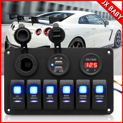 Qoo10 - 6 Gang LED Rocker Switch Panel Double USB Charger
