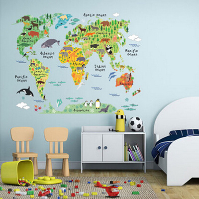 Qoo10 - 60*90cm PVC Colorful Animal Travel World Map Kids Room Decor ...
