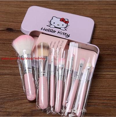 426fd1656 7 Pcs New Hello Kitty Mini Makeup brush Set cosmetics kit pincel maquiagem make  up brush