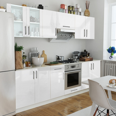 Qoo10 8 Pcs High Gloss White Kitchen Cabinet Unit 260 Cm Tools