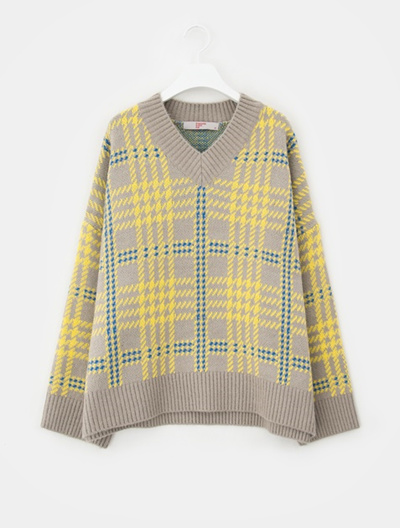 Qoo10 8 Seconds Houndstooth Pattern V Neck Loose Fit Knit Gray
