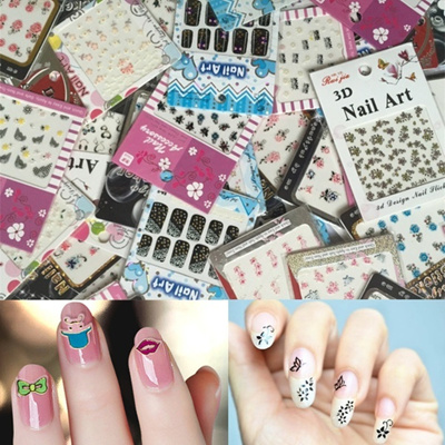 Qoo10 8 Sheetslot Cute 3d Nail Art Stickers Decal 8 Random