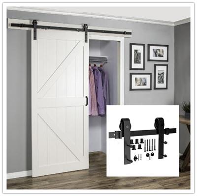 8Ft Barn Door Sliding Hardware Track Set Kit Closet Indoor Black Slide  Rails Hanging Classic Track