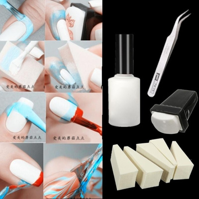Qoo10 8pcs Nail Art Peel Off Liquid Cream Tape Clean Base Coat