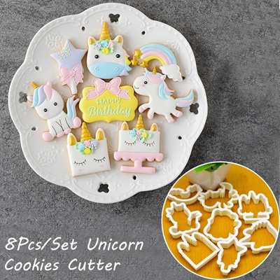 8pcs Set Christmas Diy Cute Cartoon Unicorn Horse Shape Fondant Cake Cookie Cutter Mold Biscuit Deco