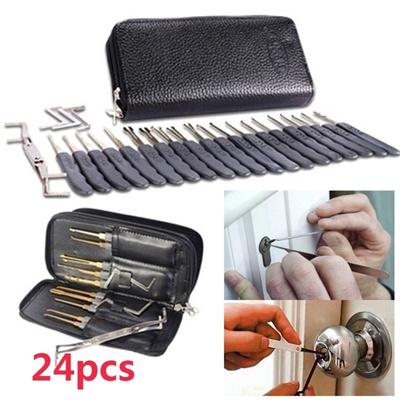 9/12/24pcs Lock Pick Locksmith Training Skill Set Practice Lock Padlock  Tools Key Extractor Kits Wit