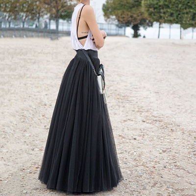 san francisco exceptional range of styles and colors buy cheap 90cm Maxi Long Skirts 3 Layers Shirt Mesh Pleated Women Flared Tutu Skirts