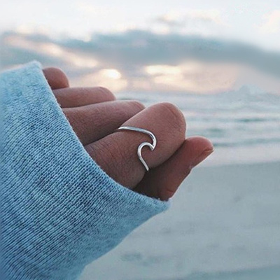 682cdeee5546a 925 Sterling Silver Ocean Wave Ring for Women Girl Size 6-10