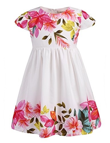6080ddde9de7 Qoo10 - AbaoSisters Little Girls Floral Dress With Cap Sleeves 2-7 Year Old  On... : Kids Fashion