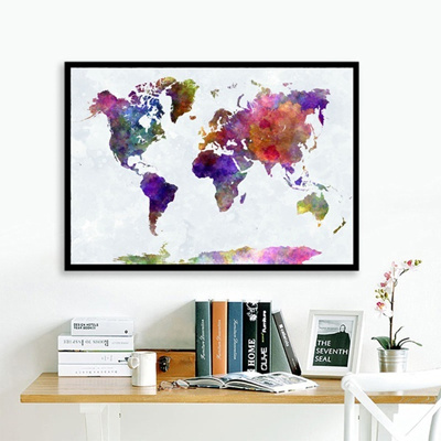Qoo10 abstract watercolor painting world map silk fabric poster abstract watercolor painting world map silk fabric poster art print no framed wall decor fm008 gumiabroncs Gallery