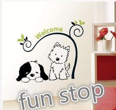 Qoo10 Accor Dinding Angin Stiker Kartun Lucu Bulldog Toko Hewan