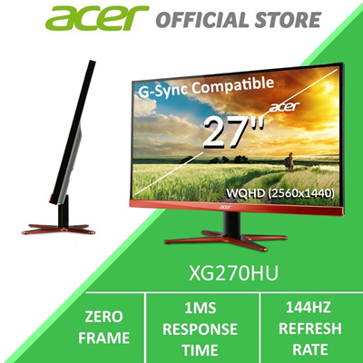AcerAcer XG270HU 27-inch Wide QHD Gaming Monitor with 144Hz Refresh Rate  (G-Sync Compatible)