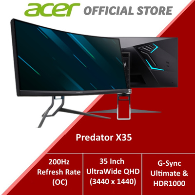 AcerPredator X35 (35-Inch) UltraWide QHD Curved Monitor up to 200Hz Refresh  Rate (OC)