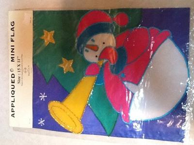 Qoo acm snowman appliqued mini garden flag inch by