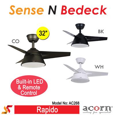 ACORN AC268 32u201d Ceiling Fan For BTO L ABS Blades Built In LED Light