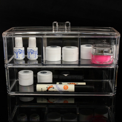Qoo10 Acrylic Clear Makeup Box Cosmetic Organizer Stand Holder
