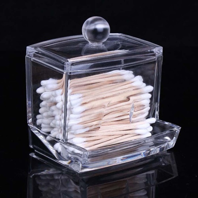 Acrylic Cotton Swab Box Ball Storage Makeup Pads Holder Cosmetics Organizer
